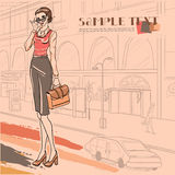 Urban fashion. City and people. Series Urban fashion. Street panorama and businesswoman with case. Vector image Stock Photography