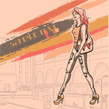 Urban fashion. City and people. Series Urban fashion. Street panorama and slender glamour beautiful young girl. Vector image Stock Photo