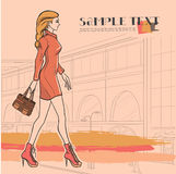 Urban fashion. City and people. Series Urban fashion. Street panorama and slender glamour beautiful young girl. Vector image Royalty Free Stock Photos