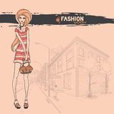 Urban fashion. City and people Royalty Free Stock Photos