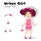 Urban fashion girl in a pink dress for a party.  Royalty Free Stock Image