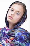 Urban Fashion. Portrait of Teenager Girl in Blue Hood Stock Images