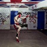 Urban fighter. An urban street fighter in an graffiti filled basement during a training Stock Photos