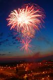 Urban firework. Color firework in the city Royalty Free Stock Photos