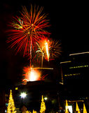 Urban Fireworks - Christmas season Royalty Free Stock Images
