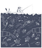 Urban fishing. Fisherman catches a fish in dirty water vector illustration