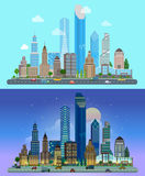 Urban flat vector city landscape - buildings skyscrapers Stock Photo