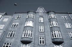 Urban flats. Old urban apartment building Denmark - Duotone Stock Image