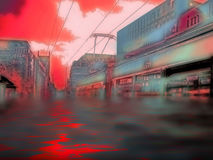 Urban Flood Disaster. Urban city after a catastrophic episode. Effects were created digitally Royalty Free Stock Image