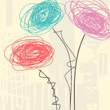 Urban flowers background. Urban background in grunge style with flowers Stock Photography