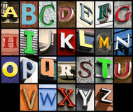 Urban font. City ABC - alphabet collage. Colorful letters font from urban buildings royalty free stock photography