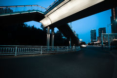 Urban footbridge and road intersection of night scene. Intersection of urban footbridge and highway of night scene Stock Photography