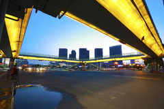 Urban footbridge and road intersection of night scene Stock Photo