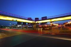 Urban footbridge and road intersection of night scene Royalty Free Stock Photos