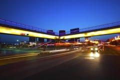 Urban footbridge and road intersection of night scene Royalty Free Stock Photo