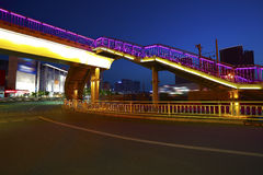 Urban footbridge and road intersection of night scene Royalty Free Stock Photos