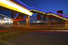 Urban footbridge and road intersection of night scene Royalty Free Stock Images