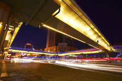 Urban footbridge and road intersection of night scene Stock Image