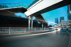 Urban footbridge and road intersection of night scene Royalty Free Stock Photography