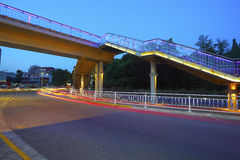 Urban footbridge and road intersection of night scene Stock Photos