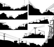 Urban foreground silhouettes. Set of detailed editable silhouettes of urban streets vector illustration