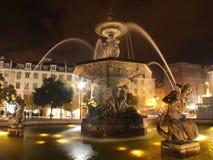 Urban fountain by night in Lisboa Royalty Free Stock Photo