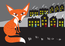 Urban fox. An stylized urban red fox sits on some waste ground waiting. It's night time and the rows of houses are lit up and smoke streams from their chimneys Royalty Free Stock Photos