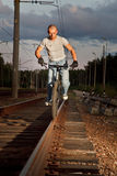 Urban freestyle tial rider Royalty Free Stock Photography