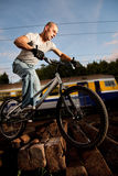 Urban freestyle trial rider Royalty Free Stock Photos