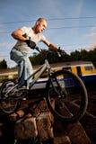 Urban freestyle trial rider Royalty Free Stock Photos