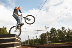 Urban freestyle trial rider Royalty Free Stock Images