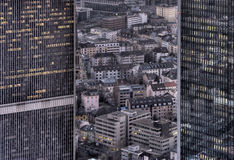 Urban gap. Residential between offices, Frankfurt Royalty Free Stock Images