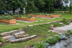 Urban garden in the city of Bayreuth Stock Photo