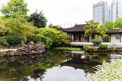 Urban garden with pond Stock Images