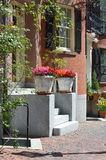 Urban Garden. Steps, planters, window box and vine framing house entrance Royalty Free Stock Photo
