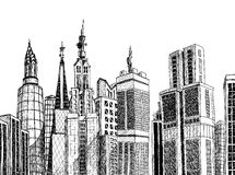 Urban generic architecture sketch Royalty Free Stock Photo
