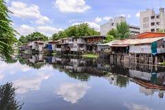 Urban ghetto house village canal side in Bangkok Thailand Royalty Free Stock Photos