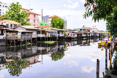 Urban ghetto house village canal side in Bangkok Thailand Royalty Free Stock Photography