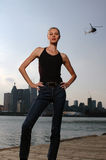 Urban girl with a helicopter Royalty Free Stock Photo