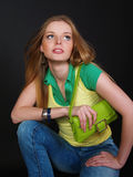 Urban girl with modern bag Royalty Free Stock Images