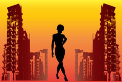 Urban Glamour. Illustration of a young ladies silhouette in an urban setting vector illustration