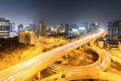 Urban grade separation bridge at night Royalty Free Stock Images
