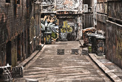 Urban graffiti. In a dirty alley in the city stock photo