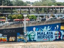 Urban graffiti along Klang River, Malaysia Royalty Free Stock Photos