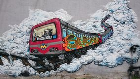 Urban graffiti  - Bucharest old subway train Stock Image