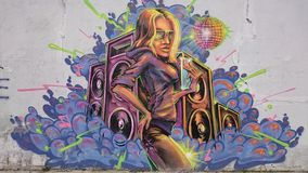 Urban graffiti  - disco girl portrait Royalty Free Stock Photography