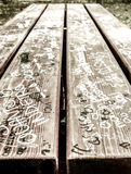 Urban graffiti over table Royalty Free Stock Image