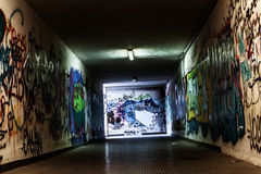 Urban graffiti tunnel Stock Photography