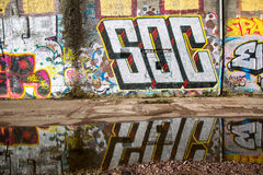 Urban graffitti in Glasgow 2016. Urban graffitti seen in an old industrial buildings complex in Glasgow Southside. Taken in February 2016 Stock Photos