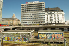 Urban graffitty. Copenhagen, Denmark - August 2012. Drawings of graffiti near the railway station in Copenhagen Stock Photos